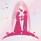 Template wedding card. Illustration groom and bride Stock Photography