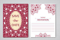 Template of wedding cards. Round oriental lace ornament with mandala. Decorative greeting design for thank you card, save the date Royalty Free Stock Image