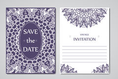 Template of wedding cards. Round oriental lace ornament with mandala. Decorative greeting design for thank you card, save the date Stock Photos