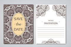 Template of wedding cards. Round oriental lace ornament with mandala. Decorative greeting design for thank you card, save the date Stock Image