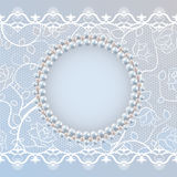 Template for wedding greeting or invitation card with lace and pearl frame Royalty Free Stock Photography