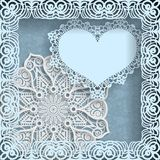 Template of wedding greetings or invitations. 3D mandala, paper heart with a lace border on the edge in a lacy paper frame. Floral Stock Image