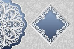 Template of wedding greetings or invitations. 3D mandala, square frame with lace edges, surface with a relief pattern. Floral back. Ground on the bottom. Place Royalty Free Stock Photos