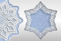 Template of wedding greetings or invitations. 3D mandala, star shaped frame with lace edges. Floral background on the bottom. Plac. E for the inscription in the Royalty Free Stock Photo