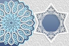 Template of wedding greetings or invitations. 3D mandala, star shaped frame with lace edges. Floral background on a surface. Place. For the inscription in the Royalty Free Stock Images