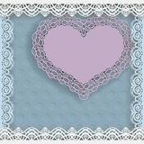 Template of wedding greetings or invitations. Paper heart with a lace border on the edge in a lacy paper frame. Geometric backgrou Stock Photos