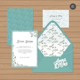 Template wedding invitation and envelope with floral ornament.   Royalty Free Stock Photos