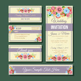 Template wedding invitation. Set of template wedding invitation in floral theme. file in eps 10 file, with no gradient meshes,blends,opacity, stroke path,brushes vector illustration
