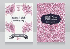 Template for wedding invitations in boho style. Doodle  abstract ornament, vector illustration Stock Photography