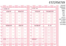 Template of weekly planner book size on pink striped background. Weekly planner book size on pink striped background with hearts and names of months with Stock Photo