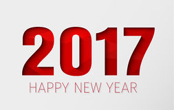 Template white background Happy New Year 2017. Design of New Year white background. Template with numbers 2017 and red abstract polygonal texture. Vector Stock Image