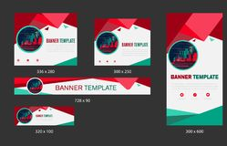 Template of white banners of standard size for the web. Design with triangular elements for a photo. royalty free illustration