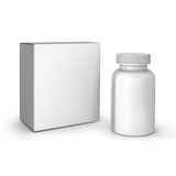 Template of white bottle and pack Royalty Free Stock Photo