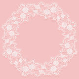 Template with white lace frame for card or invitation. Circular ornament of openwork flowers on a pink background. Stock Images