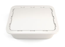 Template white plastic container for food. Clipping path. 3d illustration Stock Photos