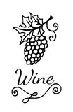 Template wine emblem with garden-stuffs and leaves of vine. For banners, labels, badges, prints, posters, web Stock Images
