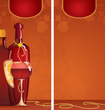 Template of wine list. Vector illustration of bottles of red wine with a gold label and a glass with red wine for restaurant menu Royalty Free Stock Photography