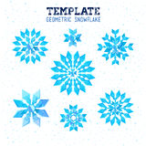 Template winter vector design with colored geometric snowflakes Royalty Free Stock Image