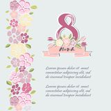 Template for Women`s day card stock illustration