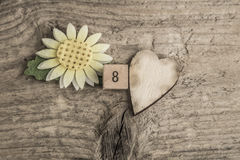 Template for women`s day on wooden background Royalty Free Stock Photo