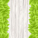 Template with wood and leaves Royalty Free Stock Photography
