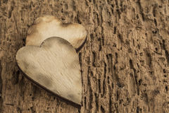 Template with wooden hearts Stock Image