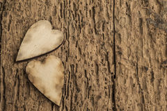 Template with wooden hearts Stock Photography