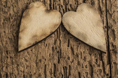 Template with wooden hearts Royalty Free Stock Photography