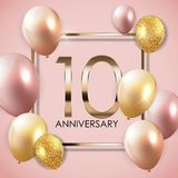 Template 10 Years Anniversary Background with Balloons Vector Illustration. EPS10 Royalty Free Stock Photos