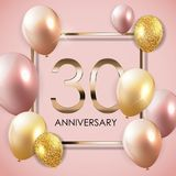 Template 30 Years Anniversary Background with Balloons Vector Illustration. EPS10 Royalty Free Stock Photography