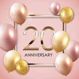 Template 20 Years Anniversary Background with Balloons Vector Illustration. EPS10 Royalty Free Stock Photography