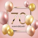 Template 70 Years Anniversary Background with Balloons Vector Illustration. EPS10 Stock Photo