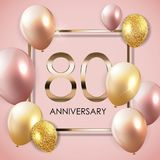 Template 90 Years Anniversary Background with Balloons Vector Illustration. EPS10 Vector Illustration