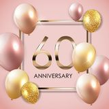Template 60 Years Anniversary Background with Balloons Vector Illustration. EPS10 stock illustration