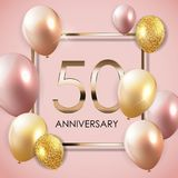 Template 50 Years Anniversary Background with Balloons Vector Illustration. EPS10 Royalty Free Stock Images