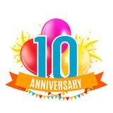 Template 10 Years Anniversary Congratulations, Greeting Card with Balloons Invitation Vector Illustration. EPS10 Stock Image