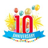 Template 10 Years Anniversary Congratulations, Greeting Card with Balloons Invitation Vector Illustration. EPS10 Stock Photos