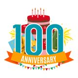 Template 100 Years Anniversary Congratulations, Greeting Card with Cake, Gift Box, Fireworks and Ribbon Invitation. Vector Illustration EPS10 Royalty Free Illustration