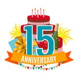 Template 15 Years Anniversary Congratulations, Greeting Card with Cake, Gift Box, Fireworks and Ribbon Invitation Vector. Illustration EPS10 Royalty Free Stock Image