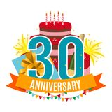 Template 30 Years Anniversary Congratulations, Greeting Card with Cake, Gift Box, Fireworks and Ribbon Invitation Vector. Illustration EPS10 Stock Images