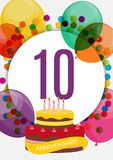 Template 10 Years Anniversary Congratulations, Greeting Card with Cake, Invitation Vector Illustration. EPS10 royalty free illustration