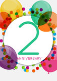 Template 2 Years Anniversary Congratulations, Greeting Card, Inv Stock Image