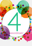 Template 4 Years Anniversary Congratulations, Greeting Card, Inv Stock Photo