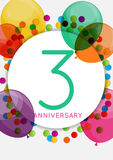 Template 3 Years Anniversary Congratulations, Greeting Card, Inv Royalty Free Stock Photography
