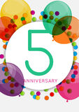 Template 5 Years Anniversary Congratulations, Greeting Card, Inv Stock Images