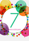 Template 7 Years Anniversary Congratulations, Greeting Card, Inv Stock Photography