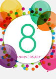 Template 8 Years Anniversary Congratulations, Greeting Card, Inv Royalty Free Stock Photo