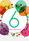 Template 6 Years Anniversary Congratulations, Greeting Card, Inv Royalty Free Stock Image
