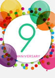 Template 9 Years Anniversary Congratulations, Greeting Card, Inv Stock Photography