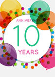 Template 10 Years Anniversary Congratulations, Greeting Card, Invitation Vector Illustration. EPS10 Stock Illustration